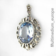 ART DECO pendentif Argent Bleu Topaze poncé Silver HOMOLOGUE Blue Topas