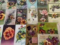 Nice~LOT of 25 ~Pansies~PANSY~Flowers Floral~Greetings Postcards-In Sleeves-s-74