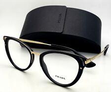 New PRADA Rx-able Eyeglasses VPR 53U 1AB-1O1 52-19 Black and Gold Cat Eye Frames