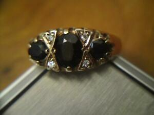Victorian Style 9ct Yellow Gold Sapphire & Diamond Ring London Hallmark 1986