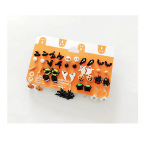 20 Pairs Halloween Earrings Set Pumpkin Ghost Spider Skull Web Spooky Gift UK