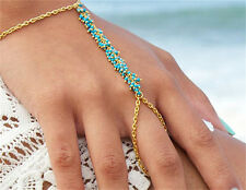 Blue Beach Bracelet Bangle Slave Gold Chain Link Fingers Rings Hand Harness