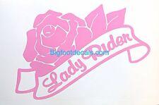 Motorcycle Lady Rider Decal XL Size Rose Helmet Car Truck Window Fender Sticker