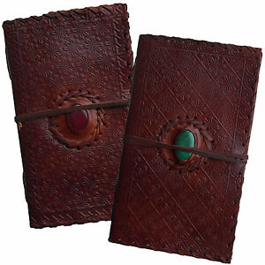 """9"""" Handmade Real Leather Floral Diary Journal Sketchbook Cartridge Paper & Stone"""