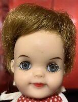 "Effanbee Fluffy 8 1/2"" Vintage Vinyl Lil Girl Doll Sleep Eyes Red & White Dress"