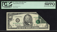 $50 1993 FRN New York PCGS 58 PPQ FR 2125-B - Pre-Face Printed ERROR Note