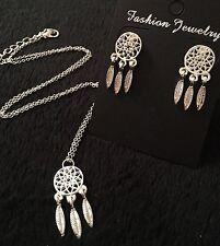 Dreamcatcher Necklace + Earrings *SET* Charm Pendant Feather Boho Tribal Silver