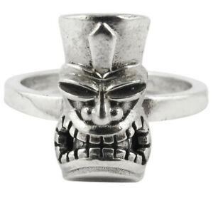 William Griffiths Sterling Silver Large Tiki Mask Stack Ring