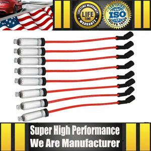 Set of 8 Spark Plug Wire Set W/Heat Shield For Round Coil Stamped 12192195