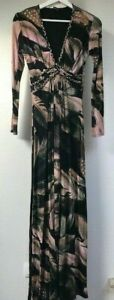 New Sky black pink brown feather print Maxi Dress size M made in USA