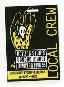 Mega Rare THE ROLLING STONES 6/25/95 Werchter Belgium LOCAL CREW Backstage Pass!