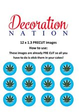 12 Hash Leaf Blue PRECUT Edible Cake Topper Weed Stoner Space Cakes