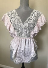 LILY of FRANCE Satin & Lace Teddy Lingerie Pink Ivory Lace VINTAGE sz Medium