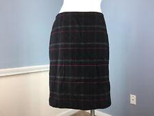 Talbots M 8 Black Red Plaid Wool blend Skirt Excellent straight