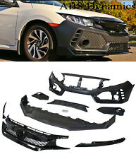 For 16-18 Honda civic 4dr Type-r Style Front Bumper+ BLACK Grill unpainted Black