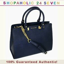 Michael Kors Quinn Large Saffiano Leather Satchel in Navy $378; 100% Authentic