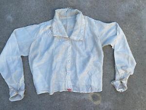 Antique Edwardian Pearly White Silk Blouse Handmade Blouse Oversized Vintage