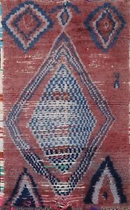 Antique Geometric Oriental Moroccan Area Rug Wool Hand-knotted Foyer Carpet 4x6