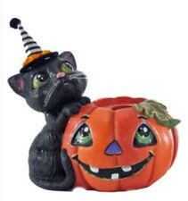 Katherine's Collection Tricky Treats Halloween Pumpkin Candle Holder Seated Cat