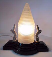 Orig Art Deco Lamp Pair Antelope Black Glass Base Frosted Skyscraper Top 1920-30