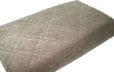 Pottery Barn Brown Diamond Stitched Washed Velvet Silk Cotton Full Queen Quilt