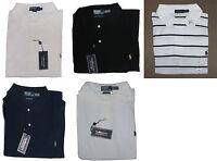 Ralph Lauren Mens Navy Black White Pima Mesh Pony Logo Short Sleeve Polo Shirt