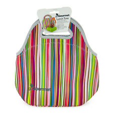 Go Gourmet Insulated Neoprene Lunch Tote Bag With Zip And Handles Stripes