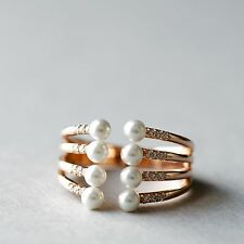 Rose Gold On Sterling Silver Open Stacked Ring W. Dainty Shell Pearls and CZ