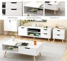 White TV Stand Entertainment Unit Cabinet Storage Drawer With Coffee Table