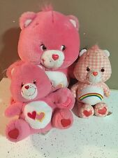 "LOT OF 3 CARE BEARS LOVE A LOT BEAR PLUSH STUFFED ANIMAL 7""-12"" GUC"