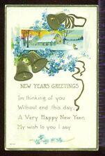 New Years Greetings Gold Bells Forget Me Nots Verse 1918 Vintage Postcard