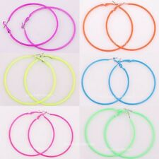 5 Pairs Fashion Candy Color Round Basketball Wives Hoops Earrings