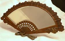 "Mirror, dresser-top, hand fan motif, brass patinated, Victorian, 18"", c1880"