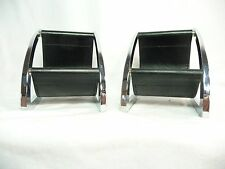 Vintage Mid-Centry Modern Doll Furniture Pair Crome & Black Leather Chairs