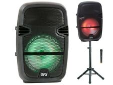 "QFX PBX-61087 8"" Rechargeable PA Speaker +Bluetooth +USB/SD/FM/LED +Stand/Mic"