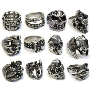 Men's Large Stainless Steel Big Skull Rings, Metal Gothic Biker Punk Ring