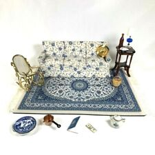 1:12 LOT VINTAGE MINIATURE BLUE AND WHITE COUCH ROCKER TABLE ACCESSORIES RUG