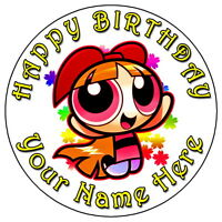 "POWERPUFF GIRLS BLOSSOM 7.5"" PERSONALISED ROUND EDIBLE ICING CAKE TOPPER (7)"
