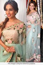 Latest​ Bollywood Saree Designer Embroidered Aqua Blue Party-wear Sari