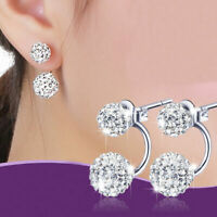 Women Fashion Jewelry Silver Plated Double Beads Crystal Stud Earring Super
