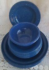 18 Pcs Blue Speckled Enamelware Dinnerware Plates Bowls Camping Vintage