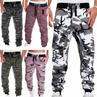 Men Casual Trousers Camouflage Joggers Sweatpants Cargo Pants Drawstring S-3XL