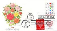 US FDC #2072,4455-4456 Love Combo, Fleetwood (3725)