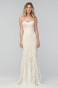 WEDDING DRESS WTOO BY WATTERS BETTY LACE PEARL ALMOND SWEETHEART STRAPLESS GOWN