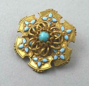 Miriam Haskell Brooch Pin W/  Enamel &Turquoise Stones VINTAGE