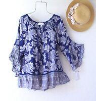 New~Blue White Black Crochet Lace Peasant Blouse Ruffle Boho Top~Size Large L