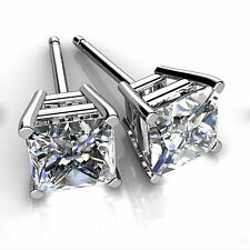4.00ct Princess Cut Diamond Earring Stud 14Kt  White Gold VVS1/D Women Jewellry