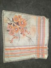 VINTAGE 70's GREY & PALE ORANGE FLORAL & STRIPE PRINT RETRO SCARF