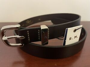 R.M. Williams Brown Leather Longhorn Belt Size 34 Brand New With Tag RM Williams