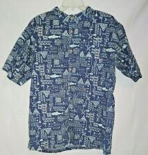 O'NEILL button down fishing shirt men's sz XL EUC multi blues Cotton & Linen